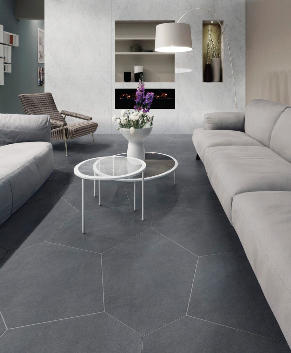Living Room With Tile Flooring