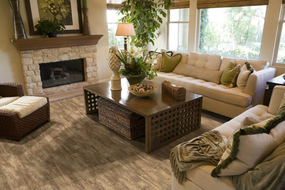 Living Room With Natural Decor Wood Look Tile Floor Why Tile