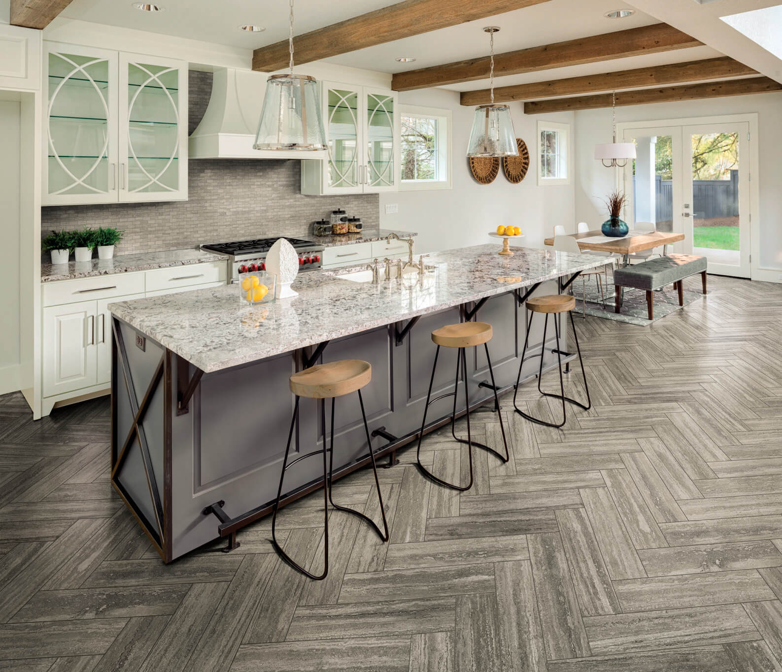Toyota Little Rock >> Stone-Look Herringbone Kitchen Floor Tile | Why Tile