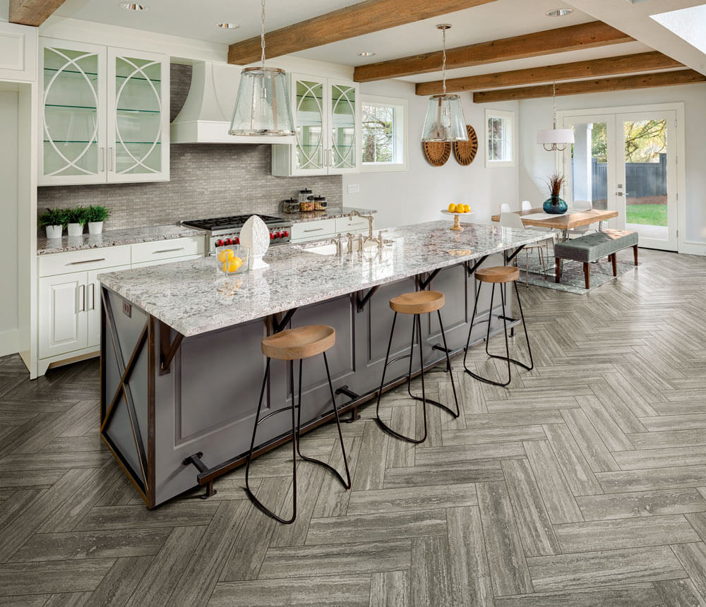 Gray Herringbone Ceramic Tile Kitchen Floor | Why Tile