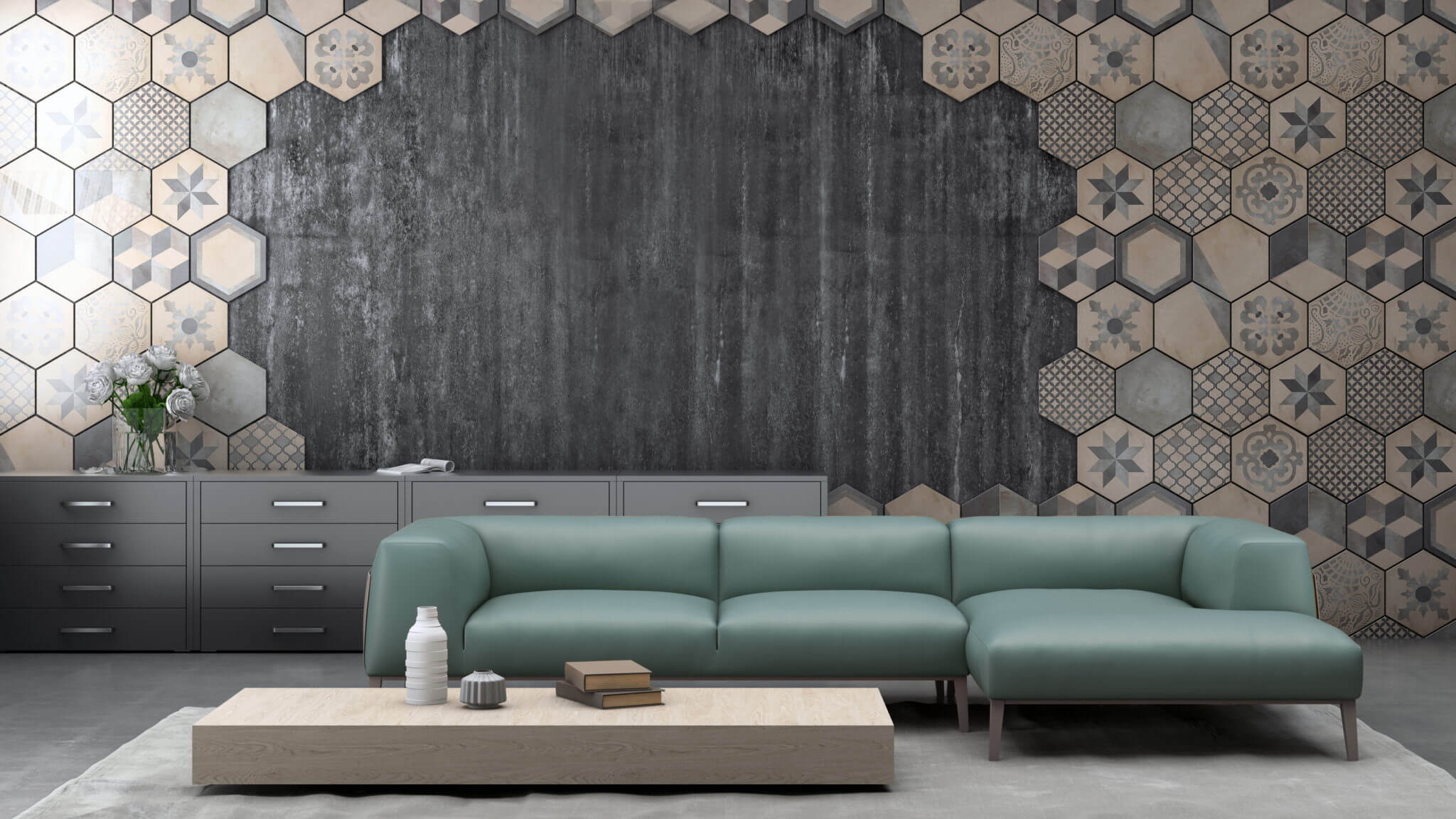 Patterned beige hexagon wall tiles in a staggered design