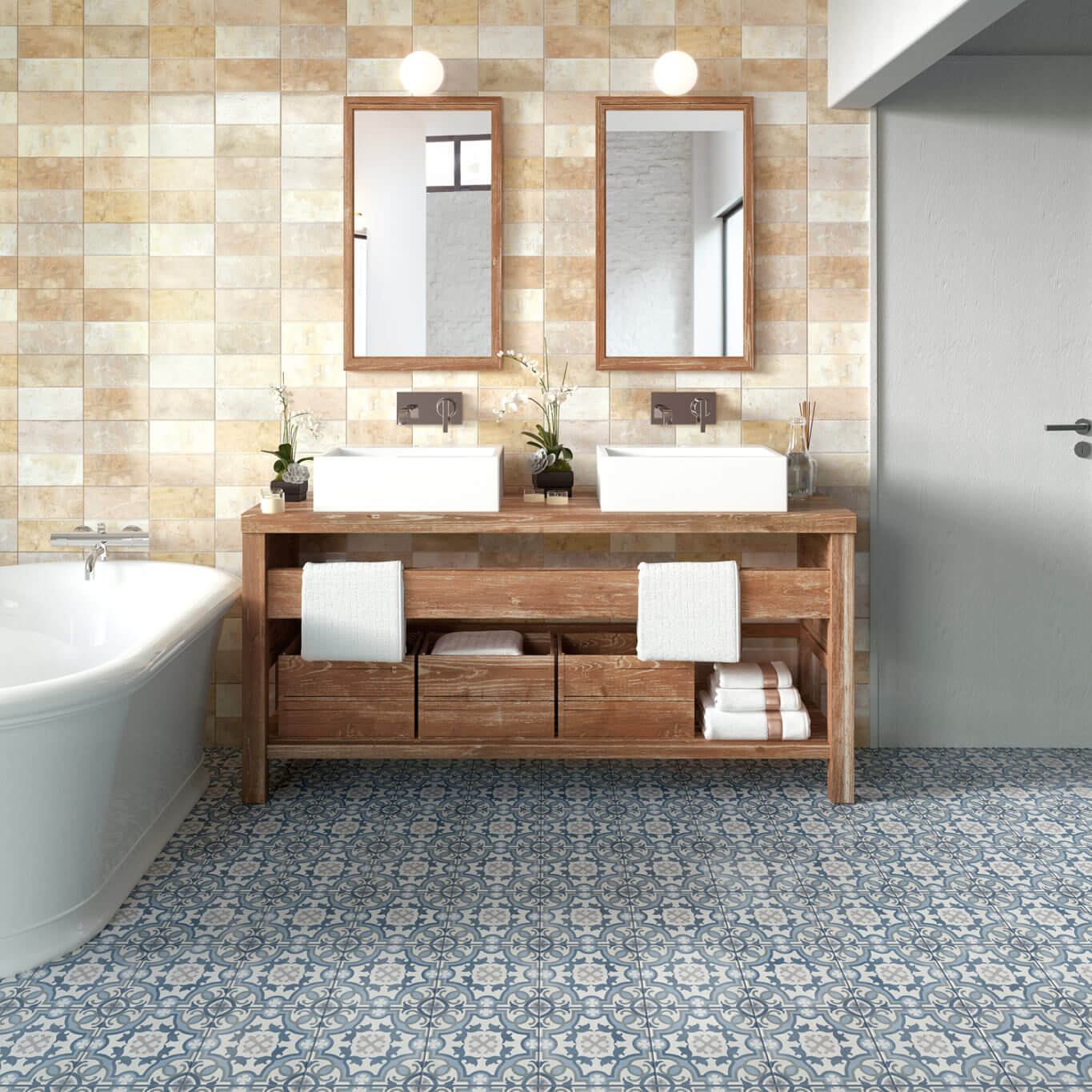 Bathroom with patterned tile flooring
