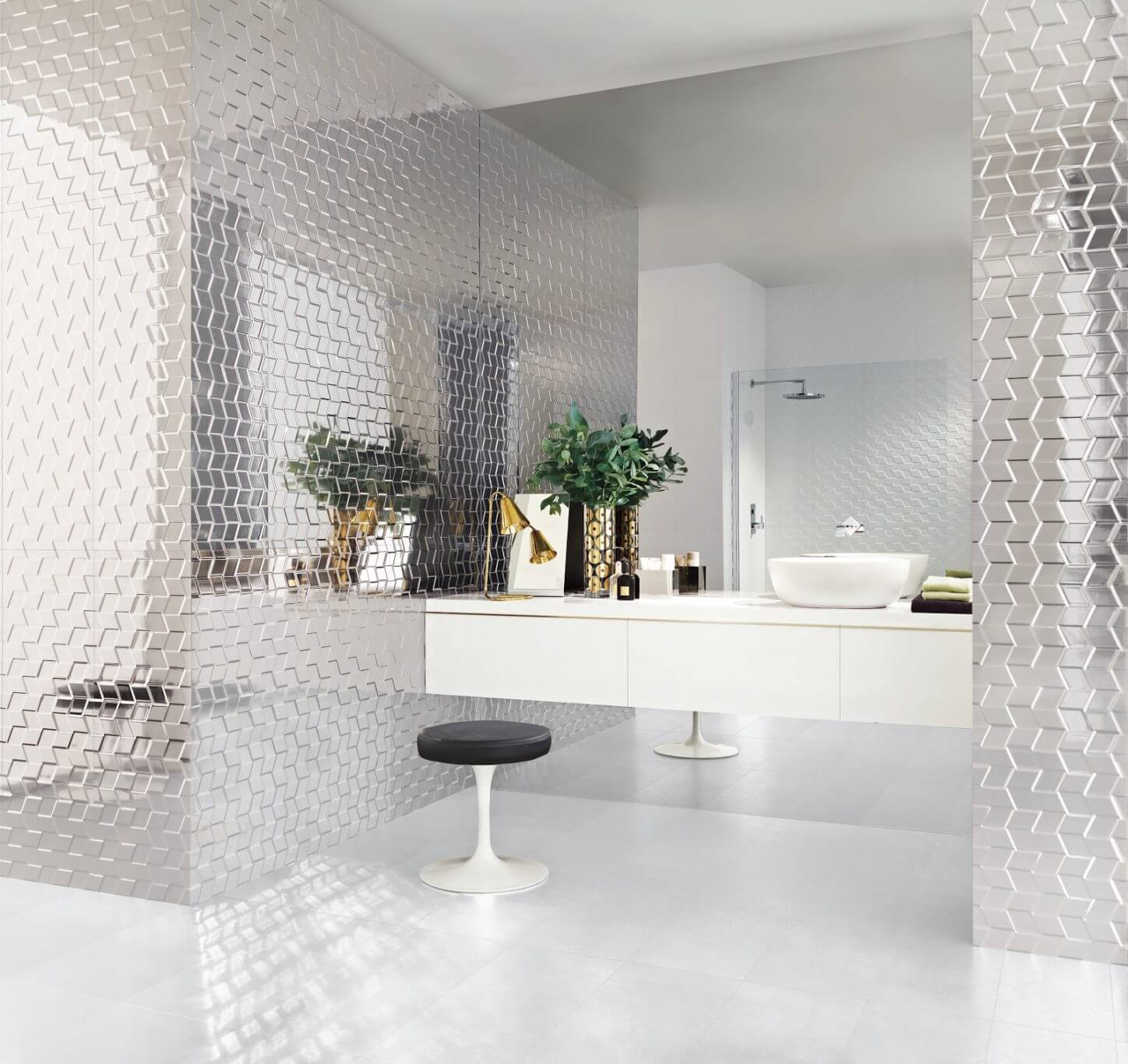 Bathroom with metallic tile walls