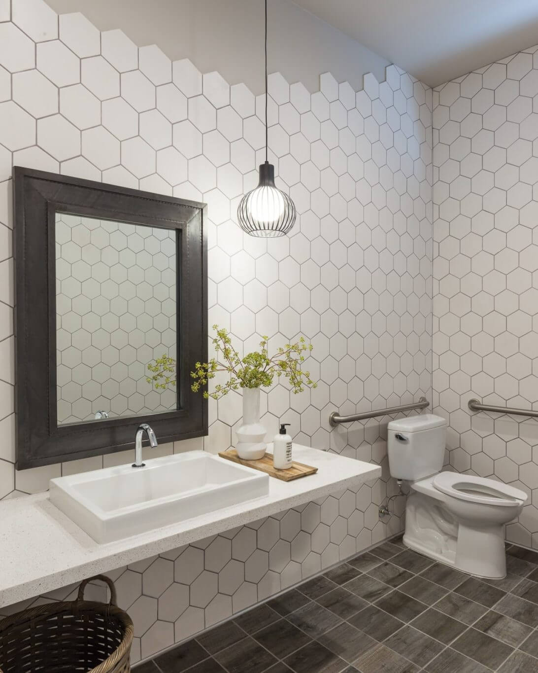 Bathroom with hexagon tile walls
