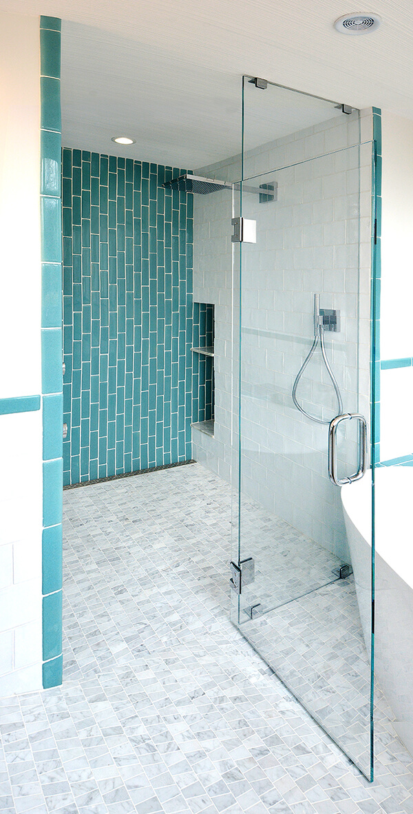 Vertical aqua subway tile