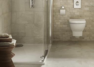 Bathroom stone-look ceramic tile
