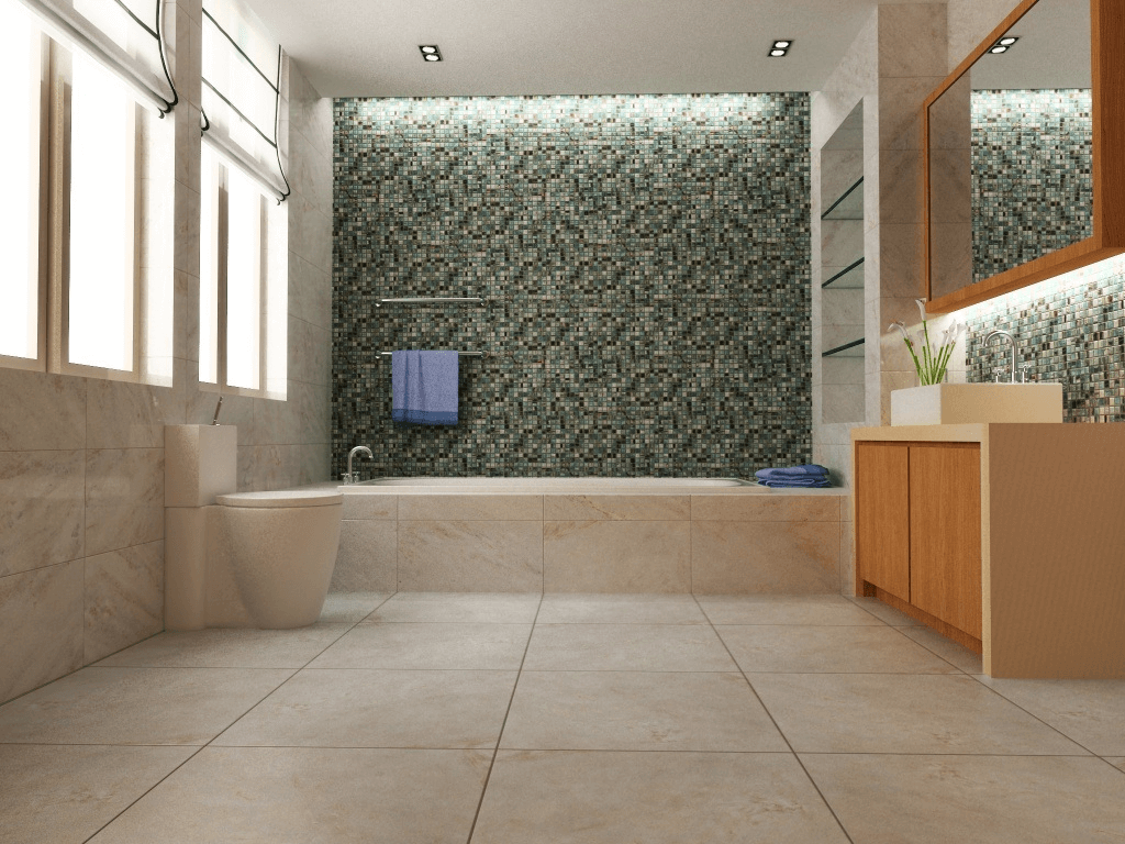 Contrasting ceramic shower tile