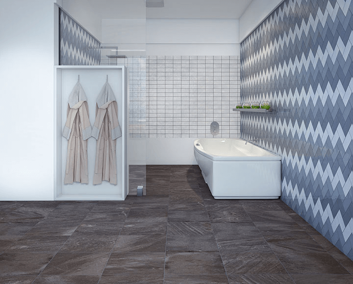 Modern geometric ceramic shower tile