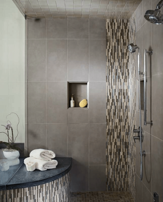 Running Bond Mosaic Ceramic Tile Accents In A Shower