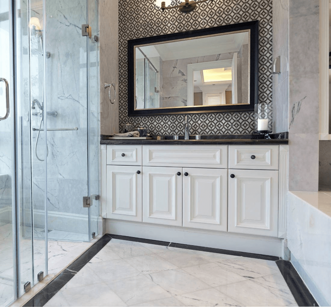 Marble-look ceramic bathroom tile in a diamond grid