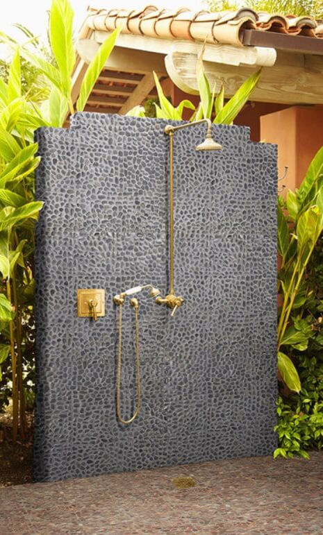Outdoor shower with ceramic tile