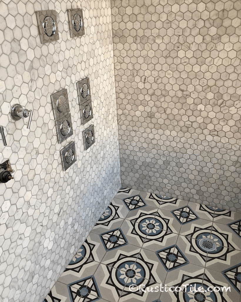 Modern Mexican ceramic tile shower floor