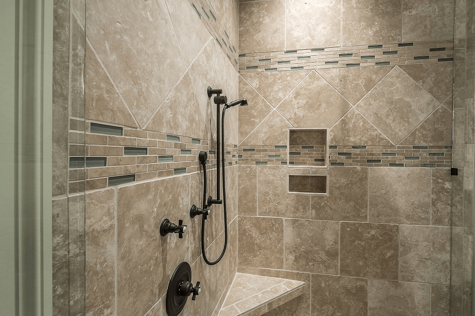 Stone Look Ceramic Shower Tile With Mosaic Accents