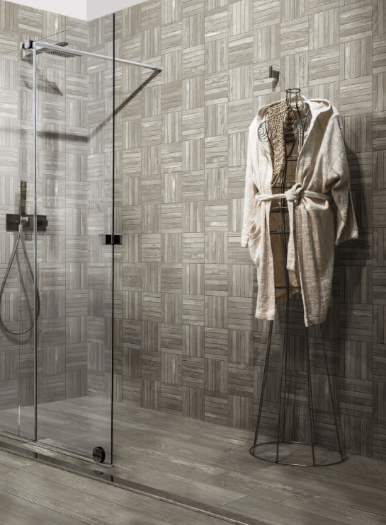 Crosshatch wood-look ceramic shower tile