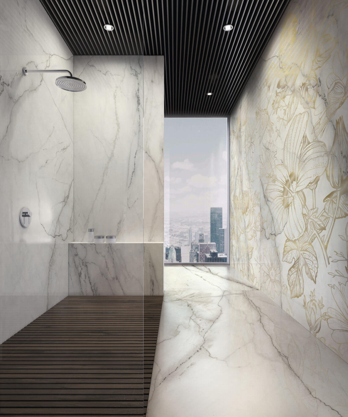 Porcelain-look ceramic tile shower walls