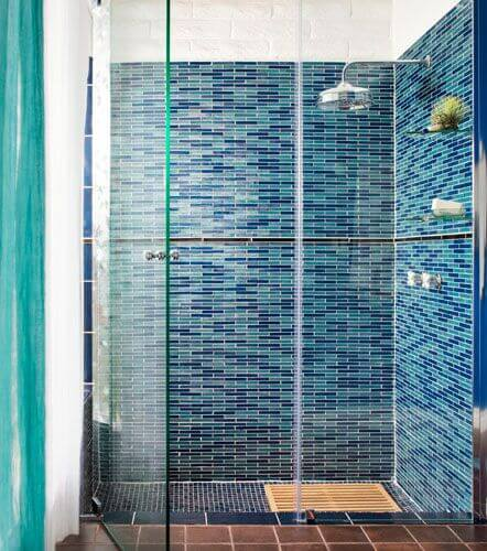 Blue mosaic ceramic tile shower walls