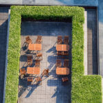 Top view of terrace of a café