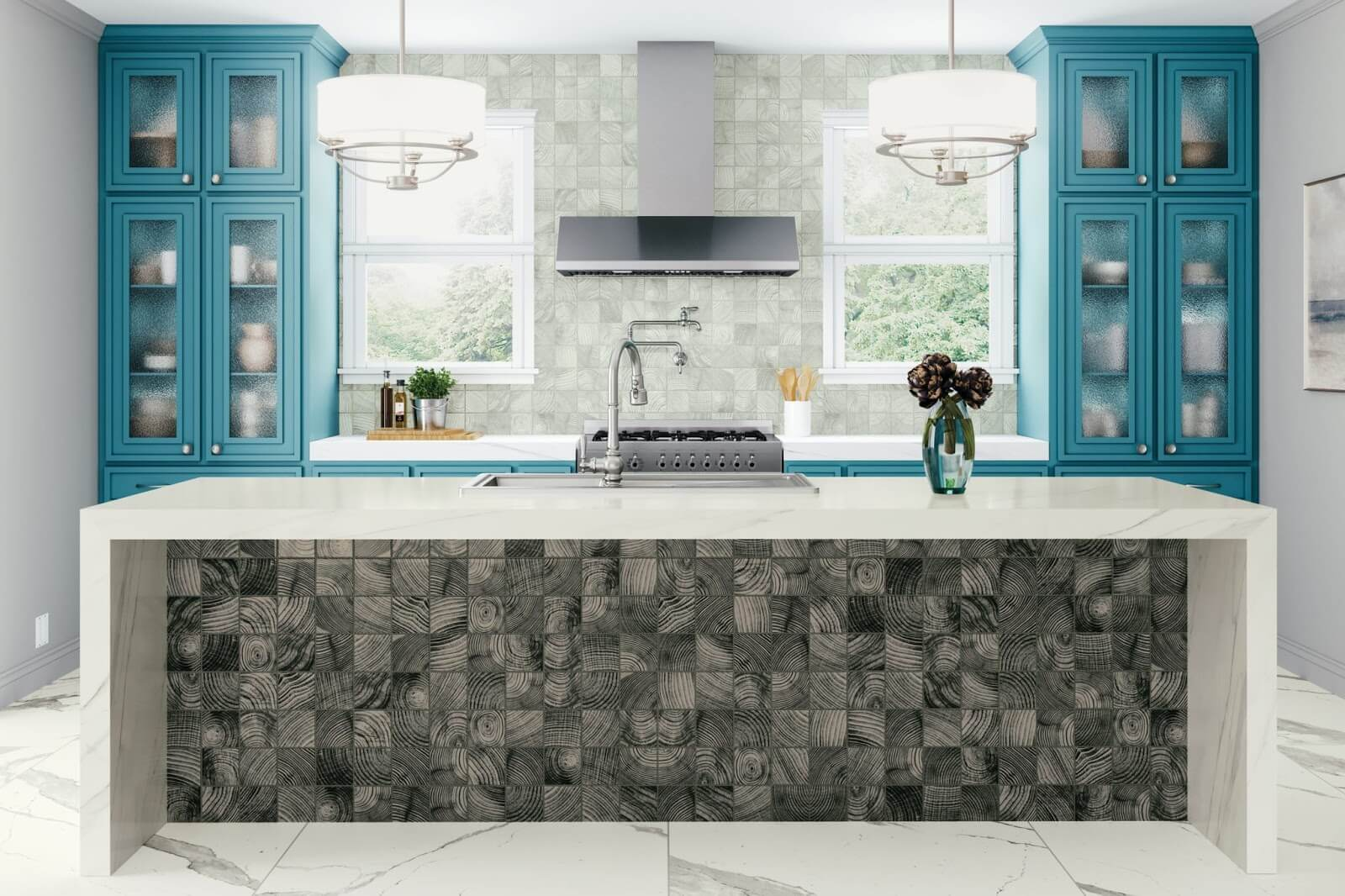 Kitchen island covered in ceramic tile