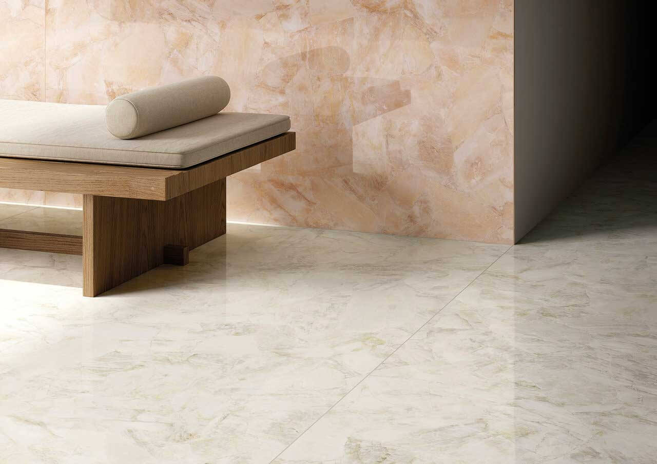 Peach and white stone-look gauged porcelain tile