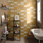 Bathroom with earthy yellow tile feature wall